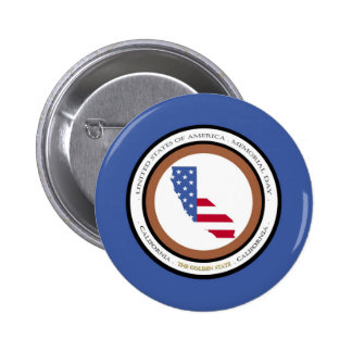 California The Golden State Memorial day 2 Inch Round Button