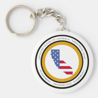 California The Golden State Memorial day Basic Round Button Keychain