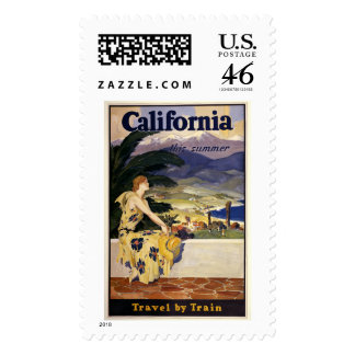 California this summer. Travel by Train  Postage Stamps