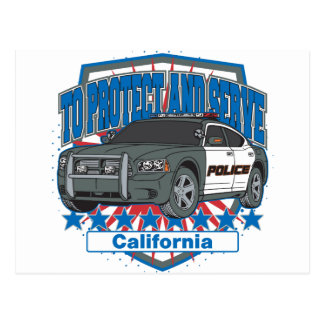 California To Protect and Serve Police Car Postcard