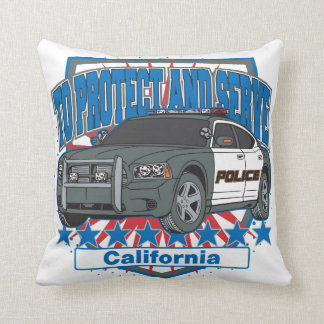 California To Protect and Serve Police Car Throw Pillow