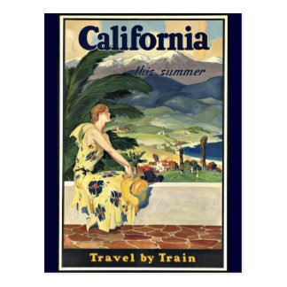 California Travel by Train vintage poster Postcard