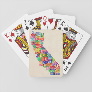 California Typography Text Map Playing Cards