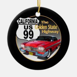 California U S Route 99 - The Golden State Ceramic Ornament
