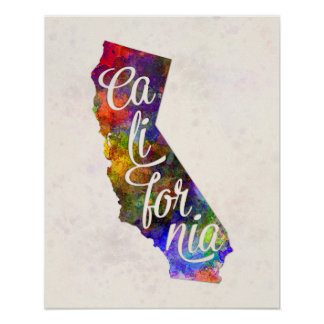 California US State in watercolor text cut out Póster