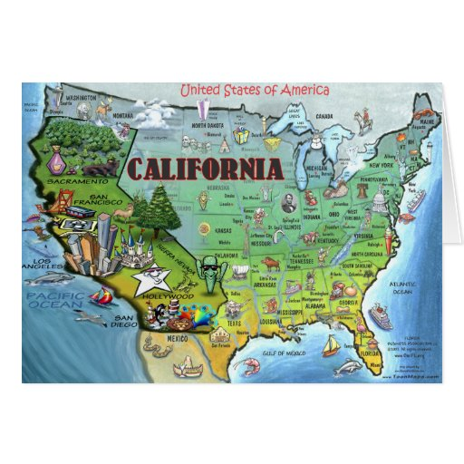 California USA Map Card