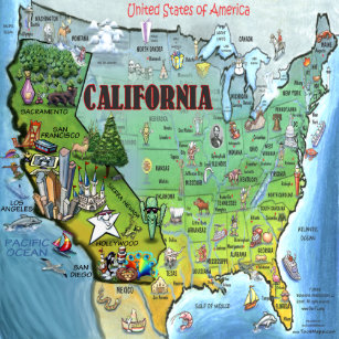 California Map Cartoon.California Cartoon Map Gifts On Zazzle