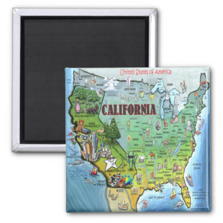California USA Map Fridge Magnet