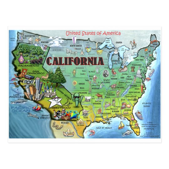 California USA Map Postcard