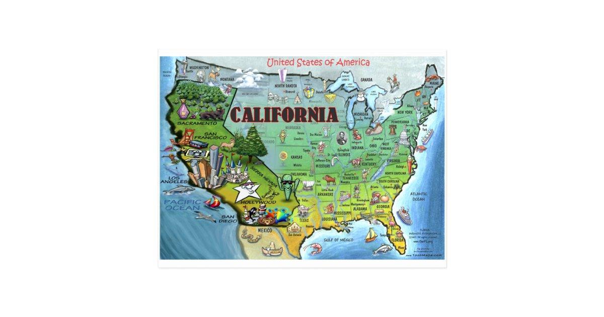 California Cartoon Map Gifts On Zazzle - Cartoon us map
