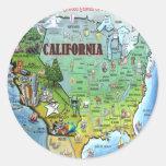 California USA Map Round Sticker