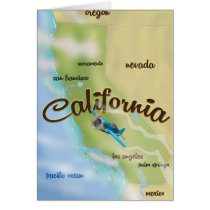 California USA vintage map and travel poster