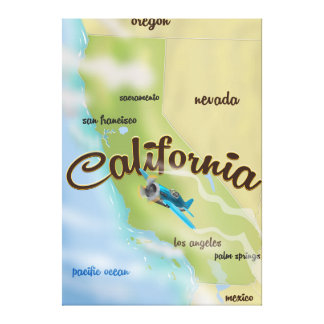 California USA vintage map and travel poster Canvas Print