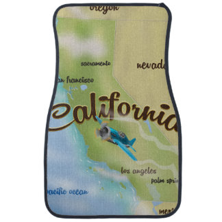 California USA vintage map and travel poster Car Floor Mat
