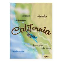 California USA vintage map and travel poster Postcard