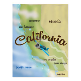 California USA vintage map and travel poster Postcard