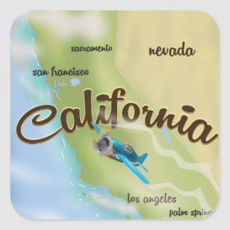 California USA vintage map and travel poster Square Sticker