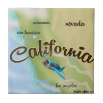 California USA vintage map and travel poster Tile