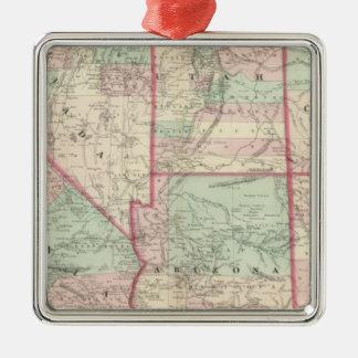 California, Utah, Nevada, Colorado Adorno Navideño Cuadrado De Metal