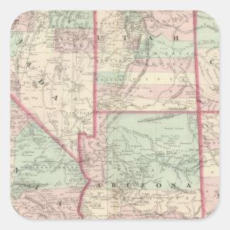 California, Utah, Nevada, Colorado Pegatina Cuadrada