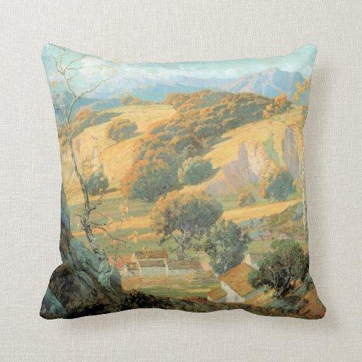 California Valley Farm, by Maurice Braun Throw Pillows