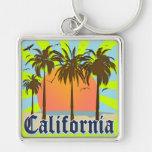 California vara puesta del sol llavero cuadrado plateado