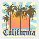 California vara puesta del sol calcomanías cuadradas