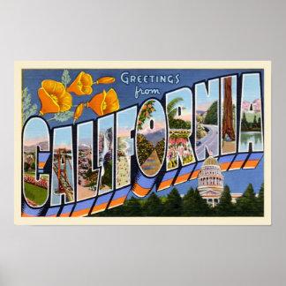 California Vintage Greetings Poster