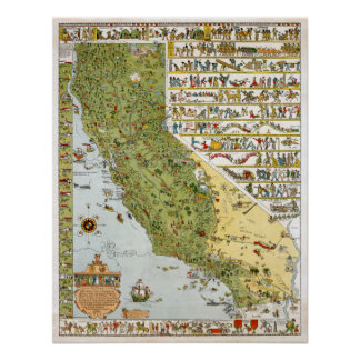 California Vintage Map Poster