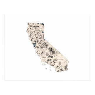 California Vintage Picture Map Postcard