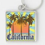 California Vintage Souvenir Silver-Colored Square Keychain