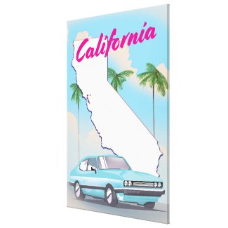 California Vintage style Vacation poster Canvas Print