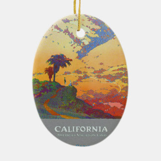 California Vintage Travel Poster Ceramic Ornament