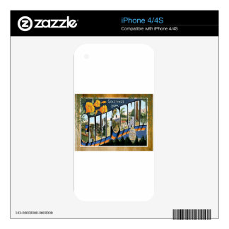California Vintage Travel Vacation Postcard Skins For The iPhone 4