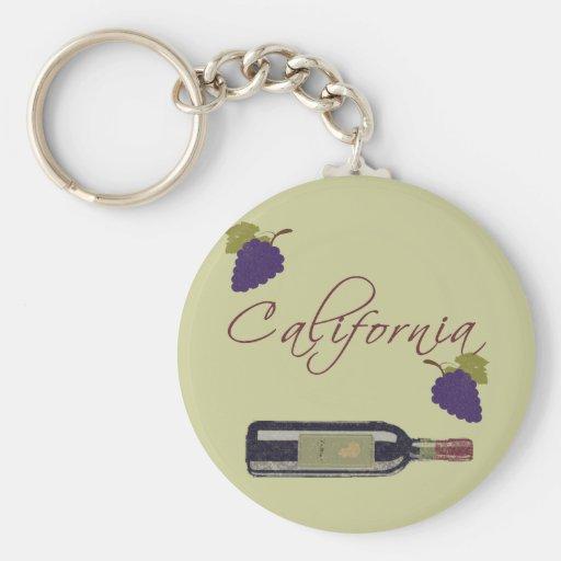 California Vintage Wine Bottle Basic Round Button Keychain