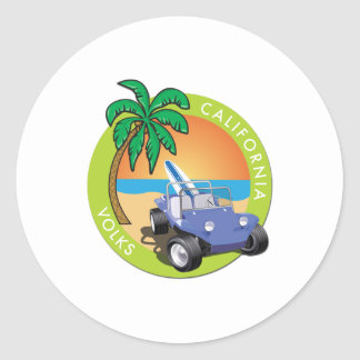 California Volks Dune Buggy with Palms Classic Round Sticker