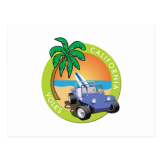 California Volks Dune Buggy with Palms Postcard