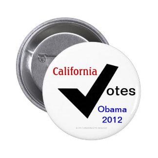 California Votes Obama 2012 Pinback Button