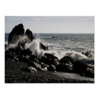 California Waves Crashing Poster