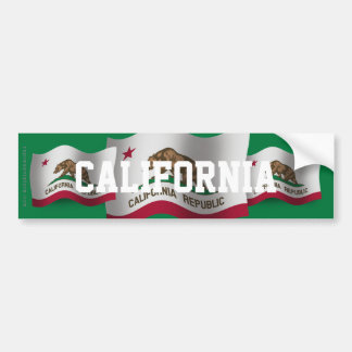 California Waving Flag Car Bumper Sticker