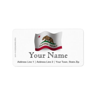 California Waving Flag Label