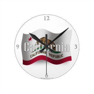 California Waving Flag Round Clock
