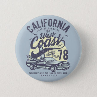 California West Coast Surfing Paradise Summer Pinback Button