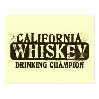 California Whiskey Drinking Champion Postcard