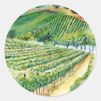 California Wine Vineyard Painting Sticker
