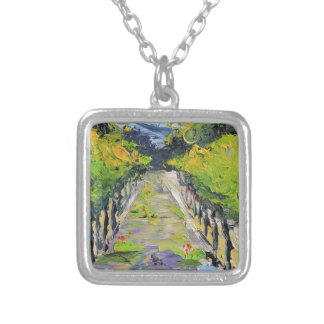 California winery, summer vineyard vines in Carmel Silver Plated Necklace
