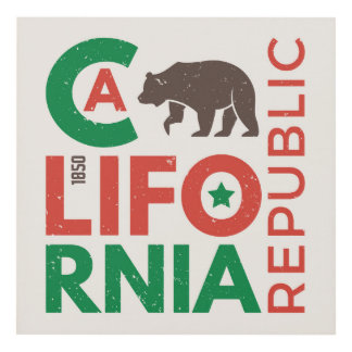 California With Grizzly Bear Logo Panel Wall Art