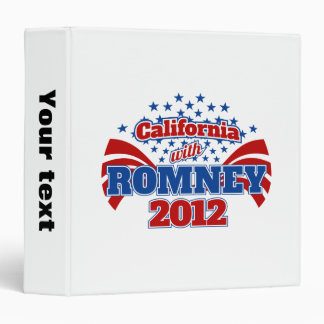 California with Romney 2012 3 Ring Binder