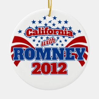 California with Romney 2012 Ceramic Ornament