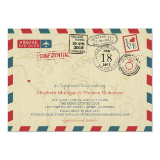 California World Traveler Airmail Engagement Party Card
